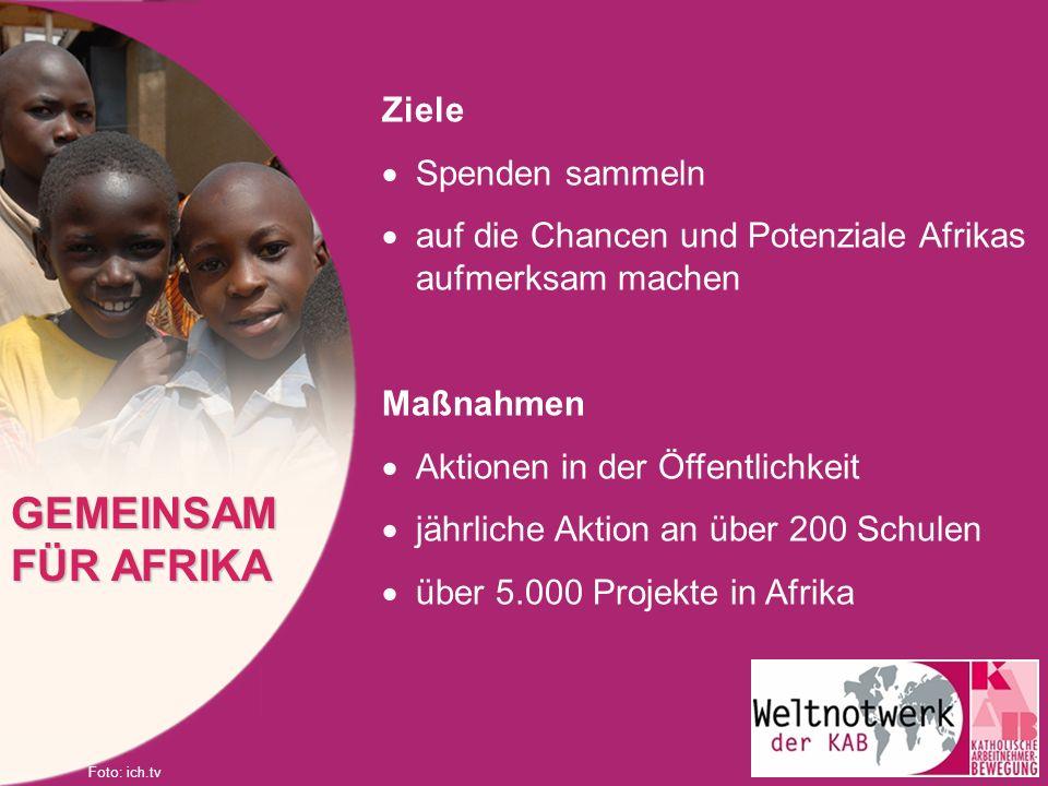 Ziele Spenden sammeln auf die Chancen und Potenziale Afrikas aufmerksam machen Maßnahmen Aktionen in der Öffentlichkeit jährliche Aktion an über 200 S