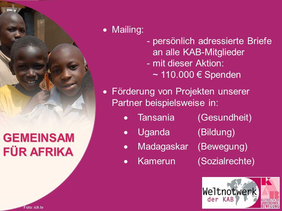 Mailing: -persönlich adressierte Briefe an alle KAB-Mitglieder -mit dieser Aktion: ~ 110.000 Spenden Förderung von Projekten unserer Partner beispiels