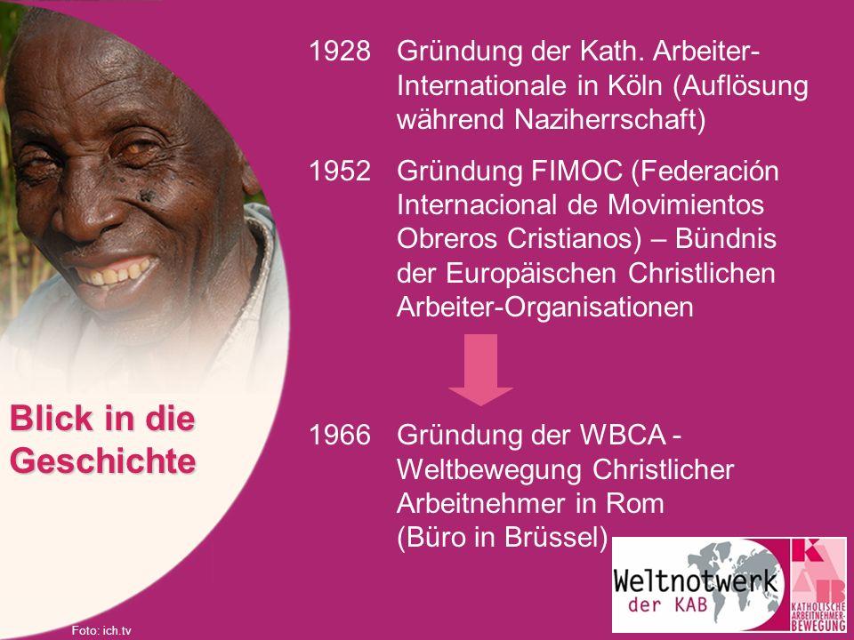 1928Gründung der Kath. Arbeiter- Internationale in Köln (Auflösung während Naziherrschaft) 1952Gründung FIMOC (Federación Internacional de Movimientos