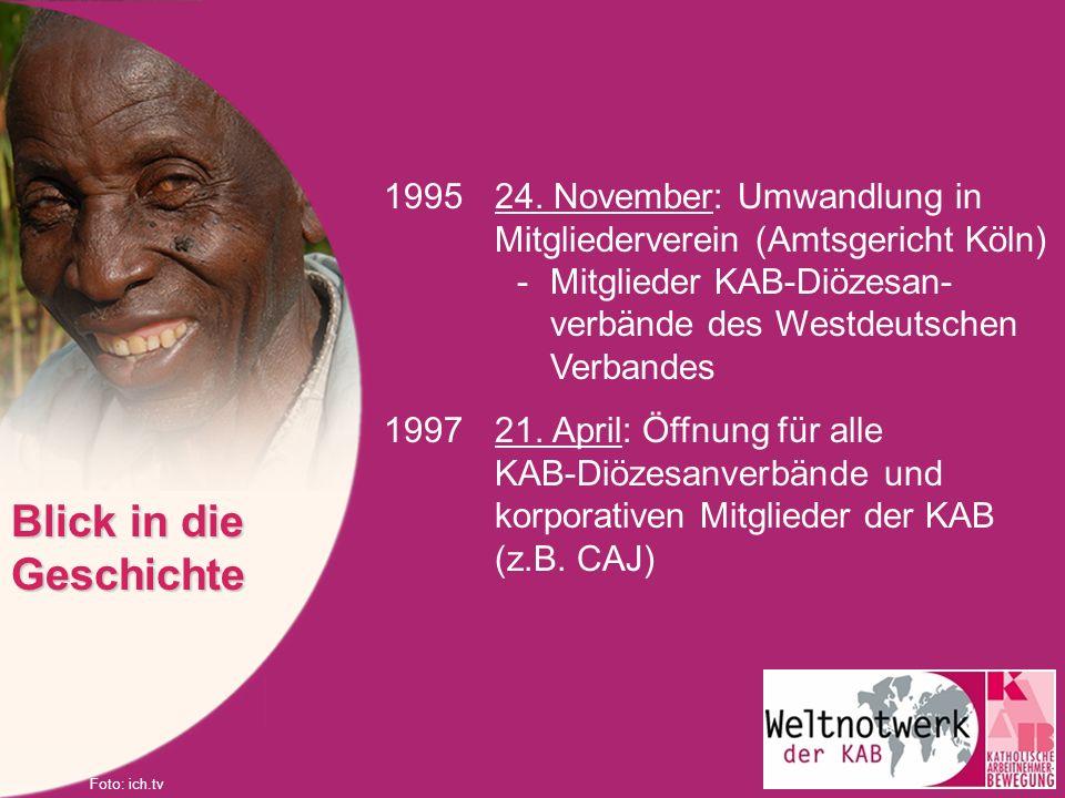 199524. November: Umwandlung in Mitgliederverein (Amtsgericht Köln) -Mitglieder KAB-Diözesan- verbände des Westdeutschen Verbandes 199721. April: Öffn