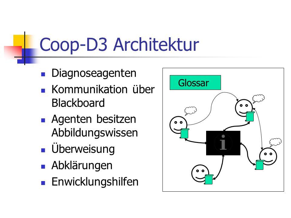 Coop-D3 Architektur Diagnoseagenten Kommunikation über Blackboard Agenten besitzen Abbildungswissen Überweisung Abklärungen Enwicklungshilfen Glossar