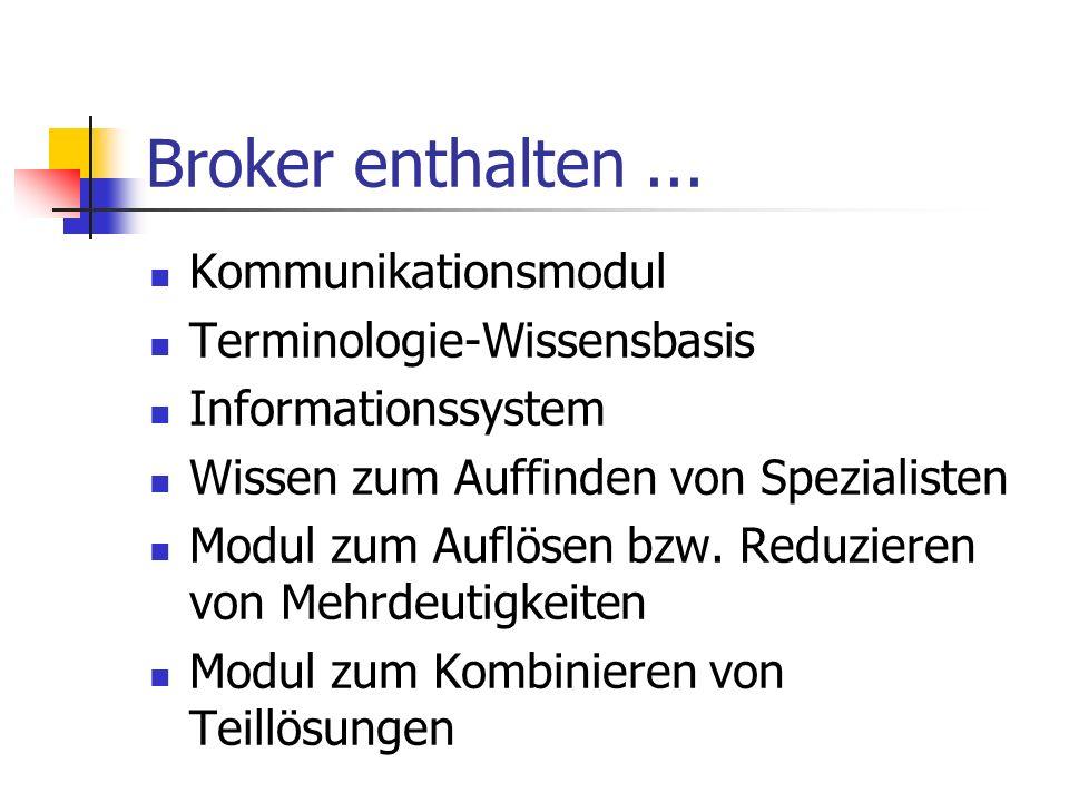 Agentenarchitektur Indirekte Adressierung über Kompeten- zen und Teamstruktur Einzelne Wissensbasen können sich auf verschiedenen Servern befinden Bro