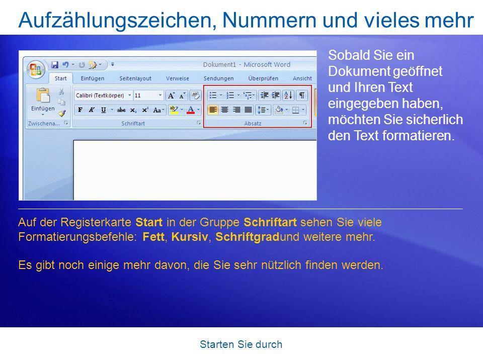 Starten Sie durch Aufzählungszeichen, Nummern und vieles mehr Sobald Sie ein Dokument geöffnet und Ihren Text eingegeben haben, möchten Sie sicherlich