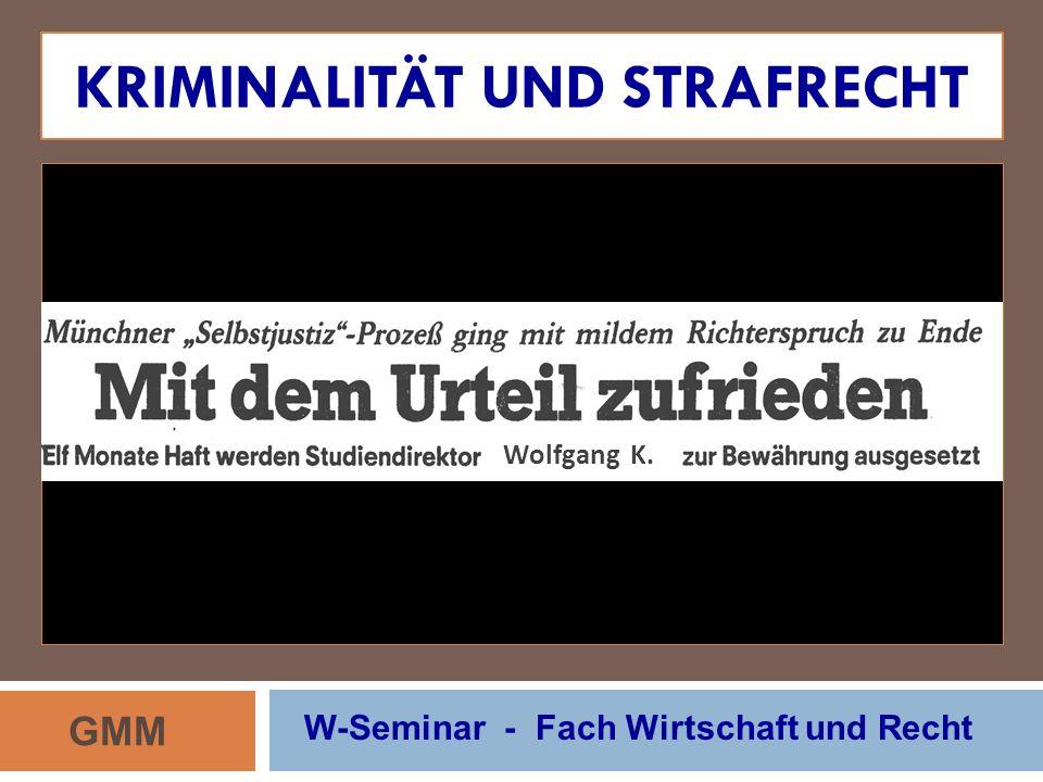 KRIMINALITÄT UND STRAFRECHT GMM W-Seminar - Fach Wirtschaft und Recht Wolfgang K.