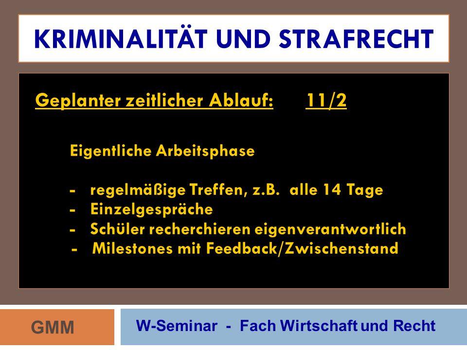 KRIMINALITÄT UND STRAFRECHT Geplanter zeitlicher Ablauf: 11/2 Eigentliche Arbeitsphase - regelmäßige Treffen, z.B. alle 14 Tage - Einzelgespräche - Sc