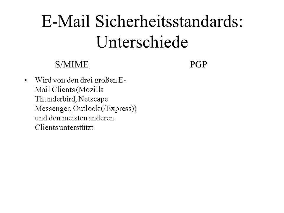 E-Mail Sicherheitsstandards: Unterschiede Wird von den drei großen E- Mail Clients (Mozilla Thunderbird, Netscape Messenger, Outlook (/Express)) und d