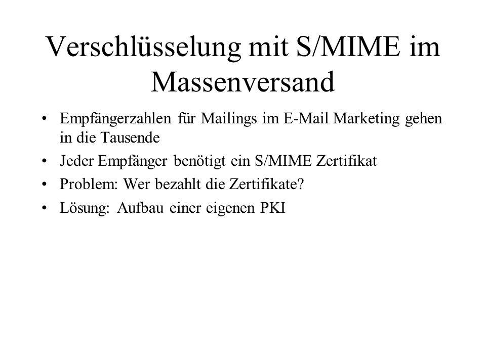 Verschlüsselung mit S/MIME im Massenversand Empfängerzahlen für Mailings im E-Mail Marketing gehen in die Tausende Jeder Empfänger benötigt ein S/MIME