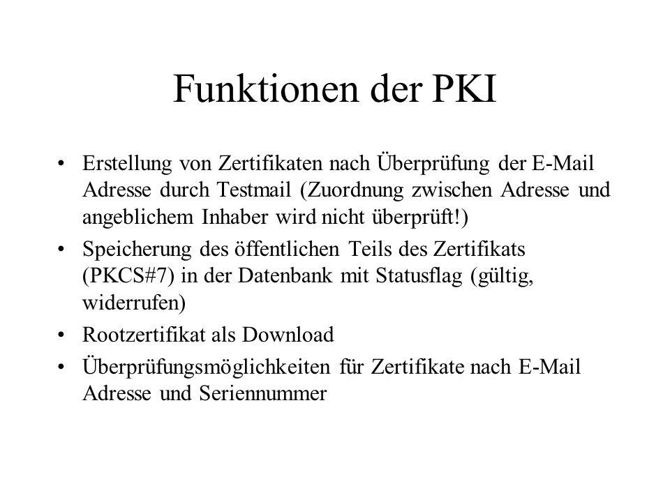 Funktionen der PKI Erstellung von Zertifikaten nach Überprüfung der E-Mail Adresse durch Testmail (Zuordnung zwischen Adresse und angeblichem Inhaber