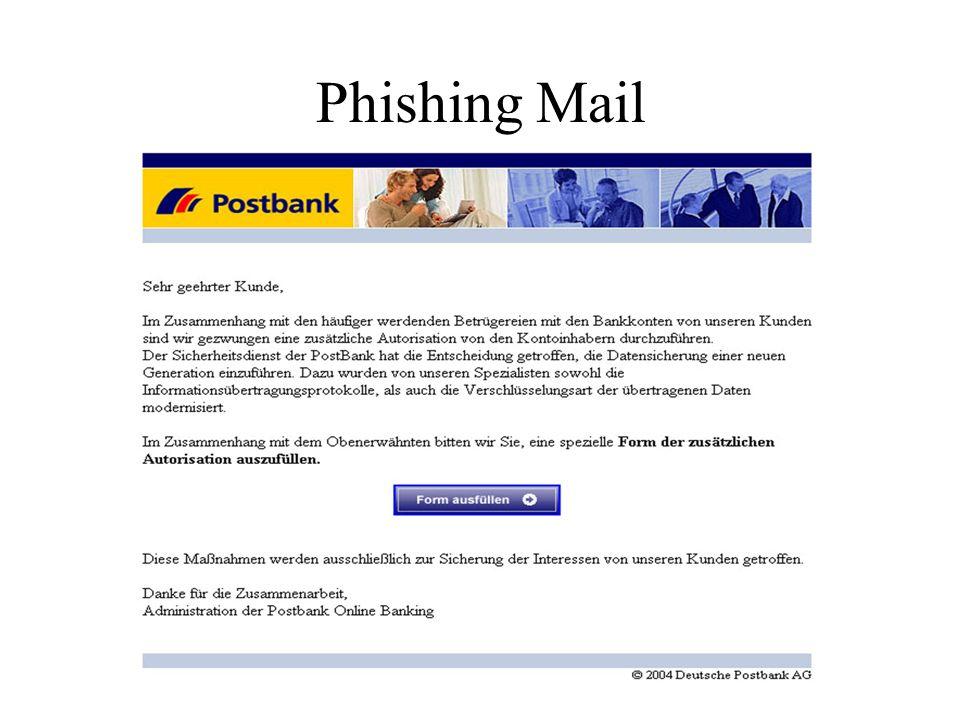 Funktionen der PKI Erstellung von Zertifikaten nach Überprüfung der E-Mail Adresse durch Testmail (Zuordnung zwischen Adresse und angeblichem Inhaber wird nicht überprüft!) Speicherung des öffentlichen Teils des Zertifikats (PKCS#7) in der Datenbank mit Statusflag (gültig, widerrufen)
