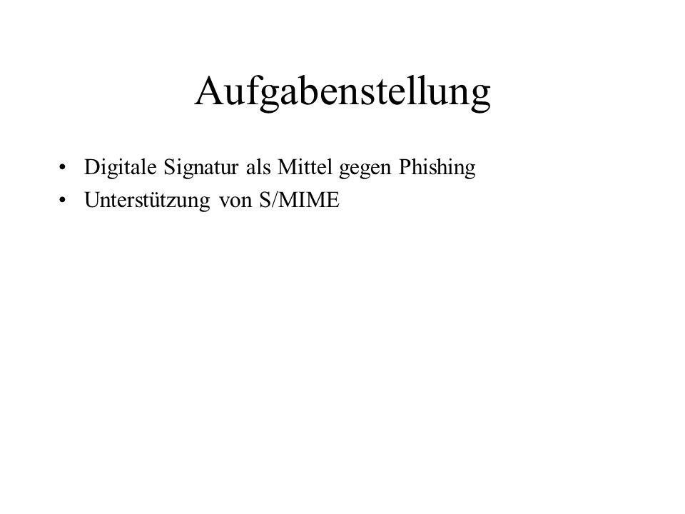 Aufgabenstellung Digitale Signatur als Mittel gegen Phishing Unterstützung von S/MIME Andere E-Mail Sicherheitsstandards.