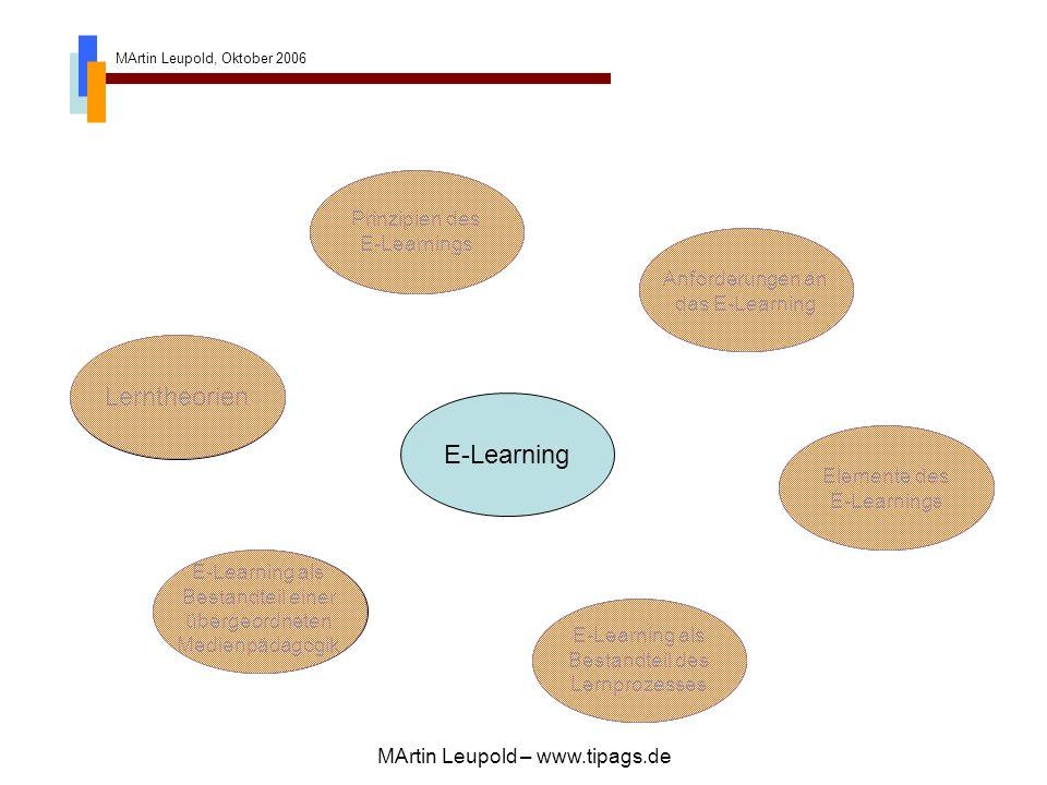 MArtin Leupold, Oktober 2006 MArtin Leupold – www.tipags.de Anforderungen an das E-Learning E-Learning als Bestandteil einer übergeordneten Medienpädagogik E-Learning E-Learning als Bestandteil einer übergeordneten Medienpädagogik Elemente des E-Learnings E-Learning als Bestandteil des Lernprozesses Prinzipien des E-Learnings Lerntheorien Prinzipien des E-Learnings Elemente des E-Learnings E-Learning als Bestandteil des Lernprozesses Lerntheorien