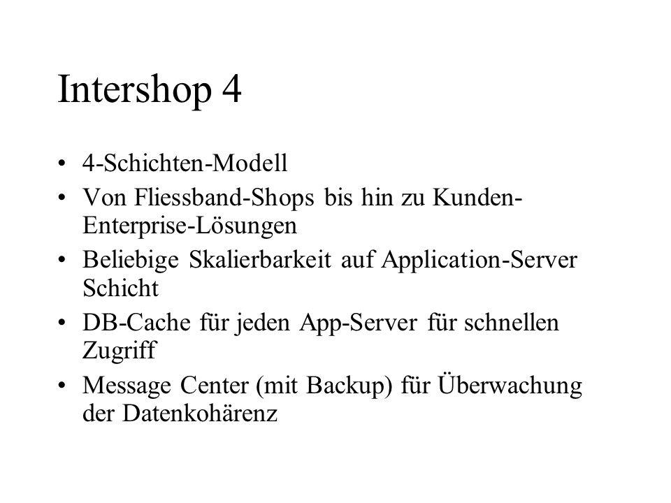 Intershop 4 4-Schichten-Modell Von Fliessband-Shops bis hin zu Kunden- Enterprise-Lösungen Beliebige Skalierbarkeit auf Application-Server Schicht DB-