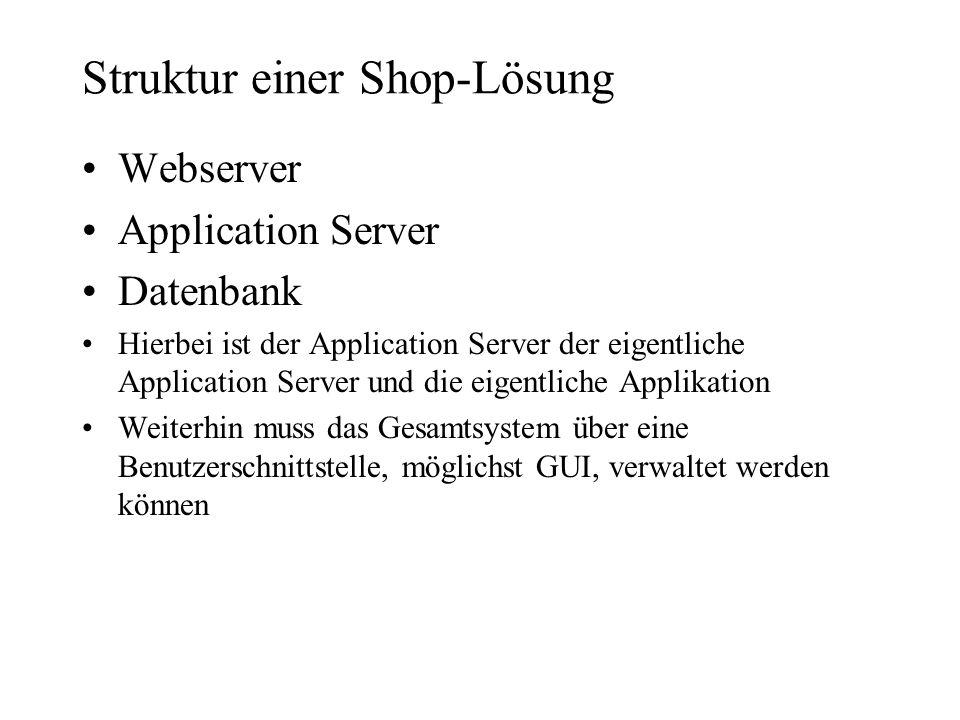 Struktur einer Shop-Lösung Webserver Application Server Datenbank Hierbei ist der Application Server der eigentliche Application Server und die eigent