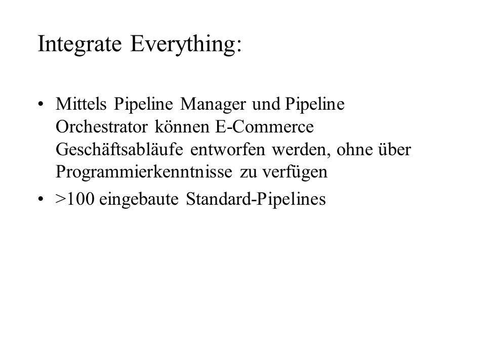 Integrate Everything: Mittels Pipeline Manager und Pipeline Orchestrator können E-Commerce Geschäftsabläufe entworfen werden, ohne über Programmierken