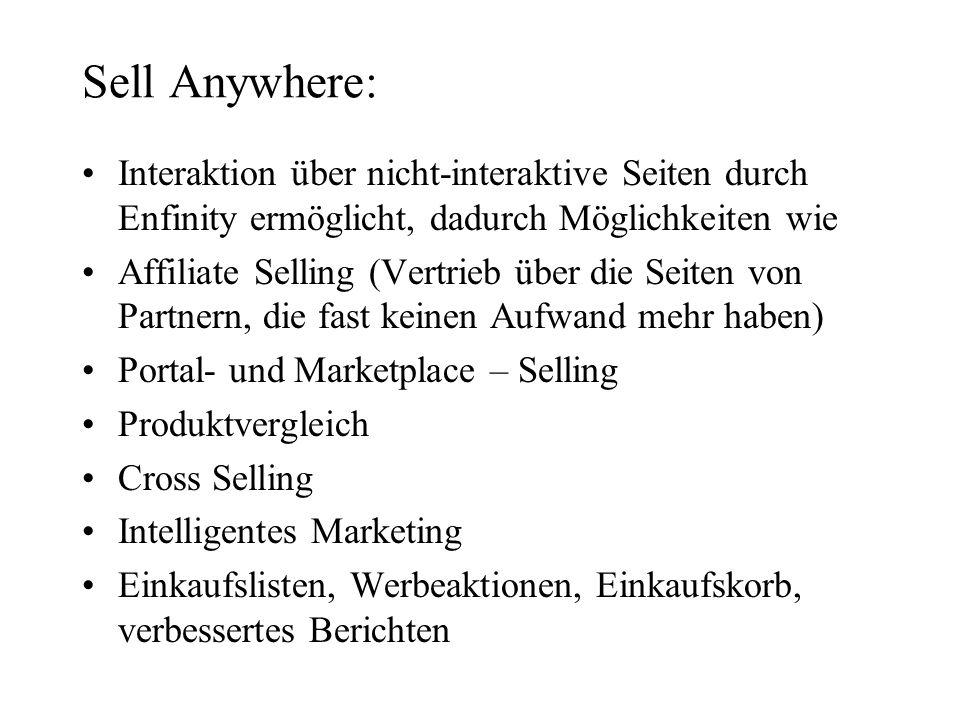 Sell Anywhere: Interaktion über nicht-interaktive Seiten durch Enfinity ermöglicht, dadurch Möglichkeiten wie Affiliate Selling (Vertrieb über die Sei