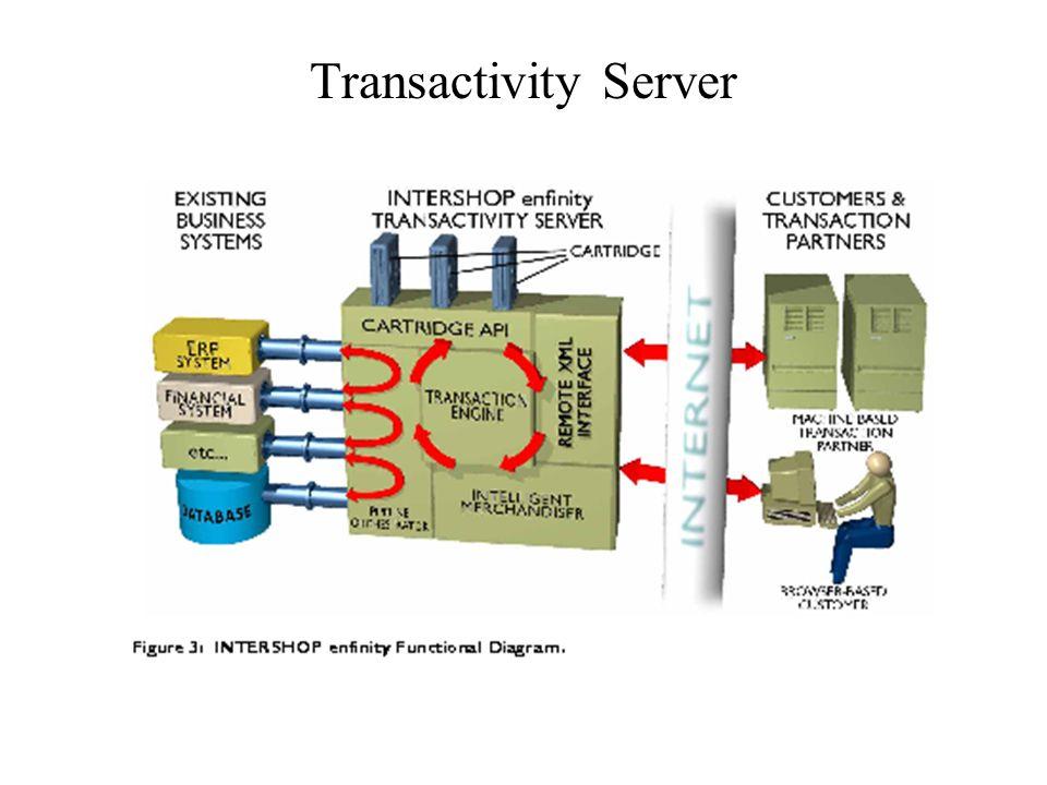 Enthält leistungsfähigen Transaction Server erweitert um intelligentes Marketing Transaction Engine führt die möglichen Benutzer- Interaktionen durch Intelligentes Marketing wird u.a.