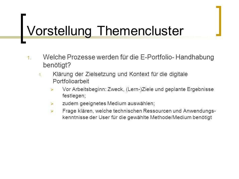 Vorstellung Themencluster 1. Welche Prozesse werden für die E-Portfolio- Handhabung benötigt? 1. Klärung der Zielsetzung und Kontext für die digitale