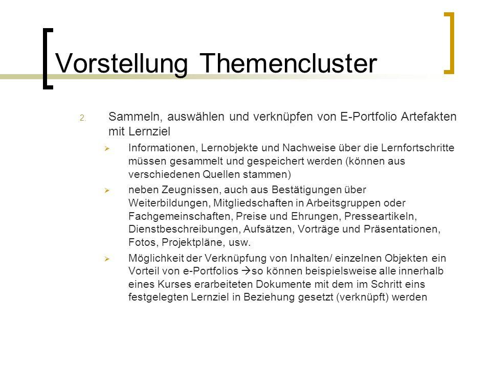 Vorstellung Themencluster 2. Sammeln, auswählen und verknüpfen von E-Portfolio Artefakten mit Lernziel Informationen, Lernobjekte und Nachweise über d