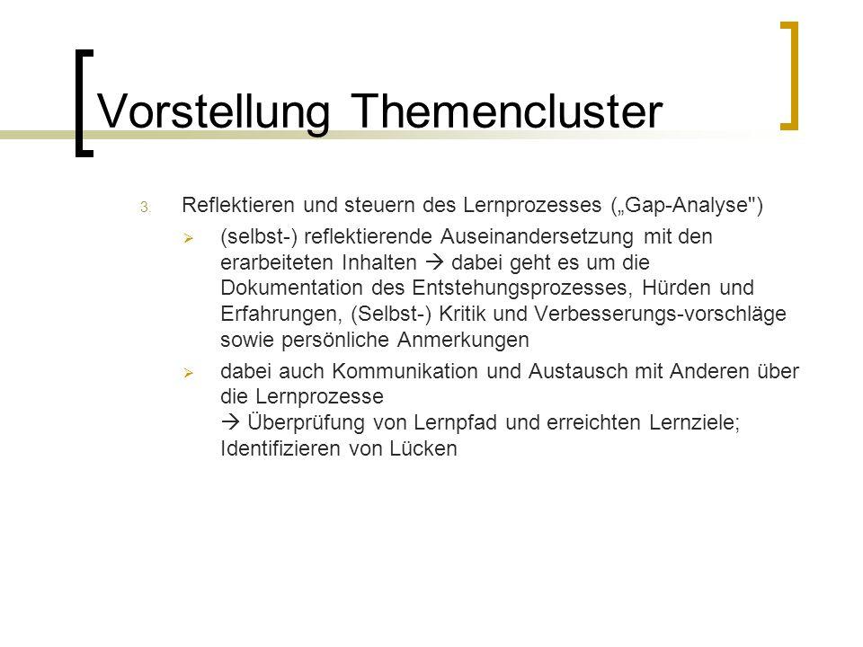 Vorstellung Themencluster 3. Reflektieren und steuern des Lernprozesses (Gap-Analyse
