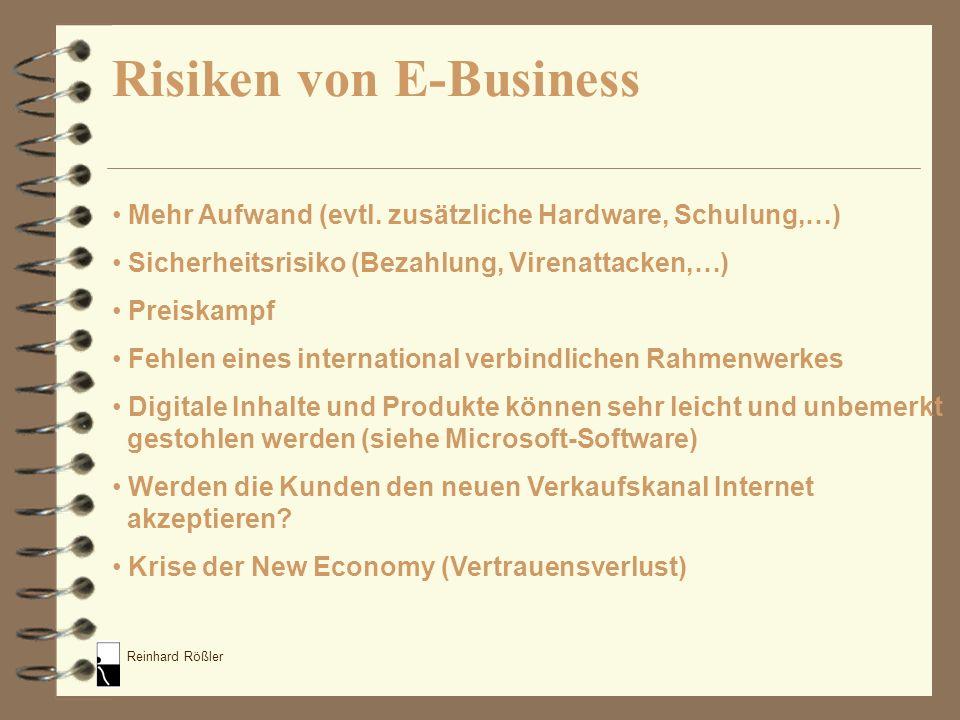 Reinhard Rößler Mehr Aufwand (evtl. zusätzliche Hardware, Schulung,…) Sicherheitsrisiko (Bezahlung, Virenattacken,…) Preiskampf Fehlen eines internati