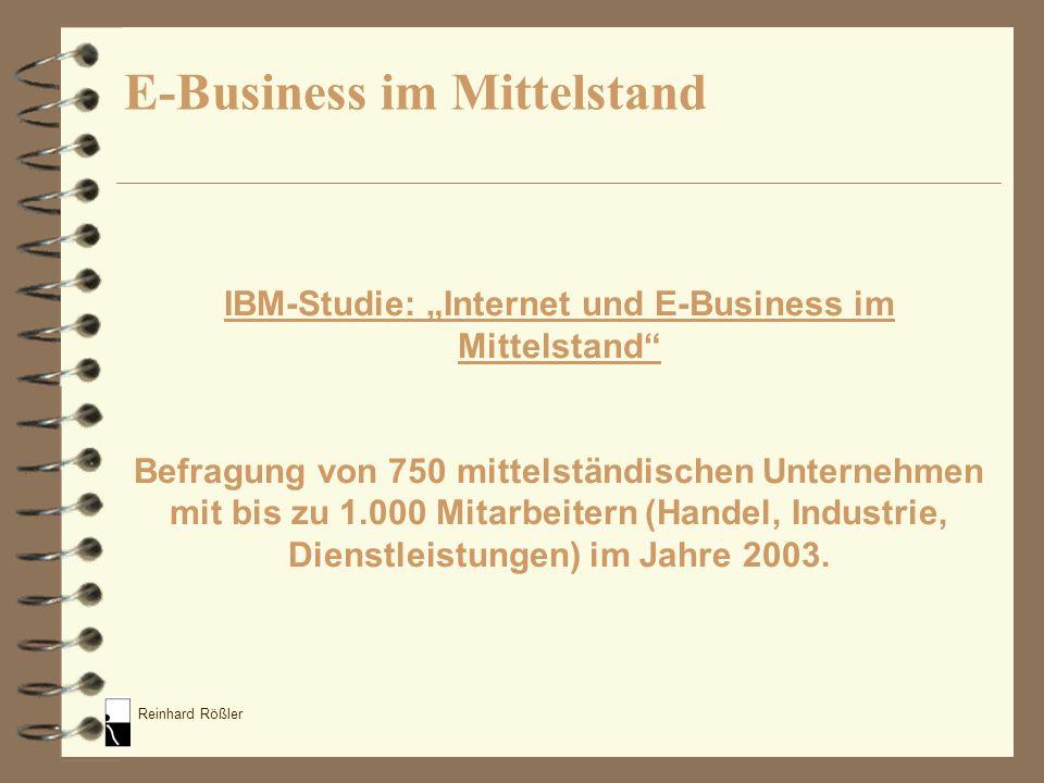 Reinhard Rößler IBM-Studie: Internet und E-Business im Mittelstand Befragung von 750 mittelständischen Unternehmen mit bis zu 1.000 Mitarbeitern (Hand