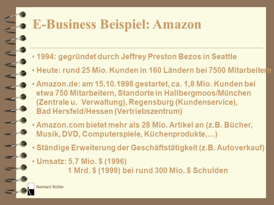 Reinhard Rößler 1994: gegründet durch Jeffrey Preston Bezos in Seattle Heute: rund 25 Mio. Kunden in 160 Ländern bei 7500 Mitarbeitern Amazon.de: am 1
