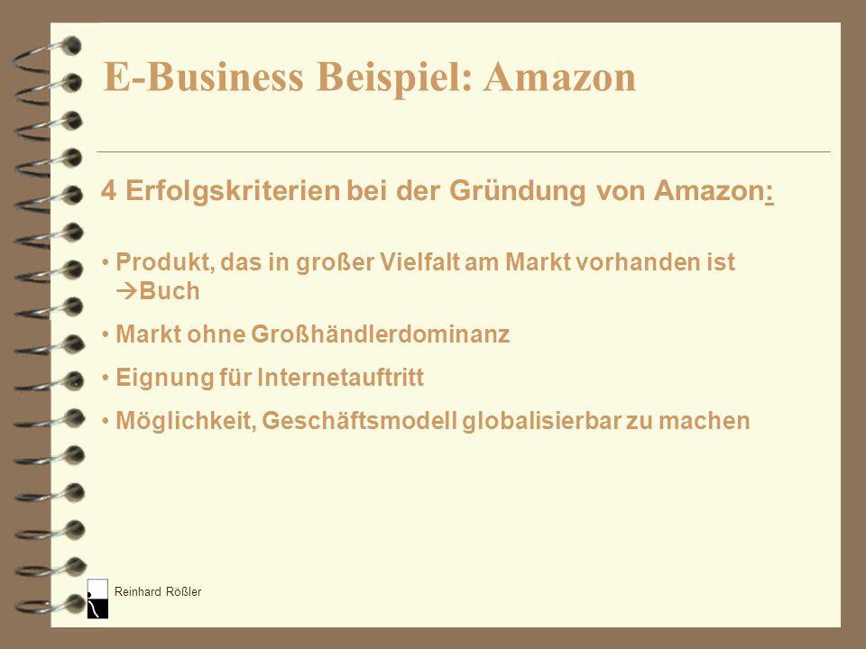 Reinhard Rößler 4 Erfolgskriterien bei der Gründung von Amazon: Produkt, das in großer Vielfalt am Markt vorhanden ist Buch Markt ohne Großhändlerdomi