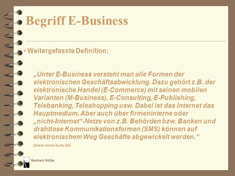 Reinhard Rößler 4 Erfolgskriterien bei der Gründung von Amazon: Produkt, das in großer Vielfalt am Markt vorhanden ist Buch Markt ohne Großhändlerdominanz Eignung für Internetauftritt Möglichkeit, Geschäftsmodell globalisierbar zu machen E-Business Beispiel: Amazon