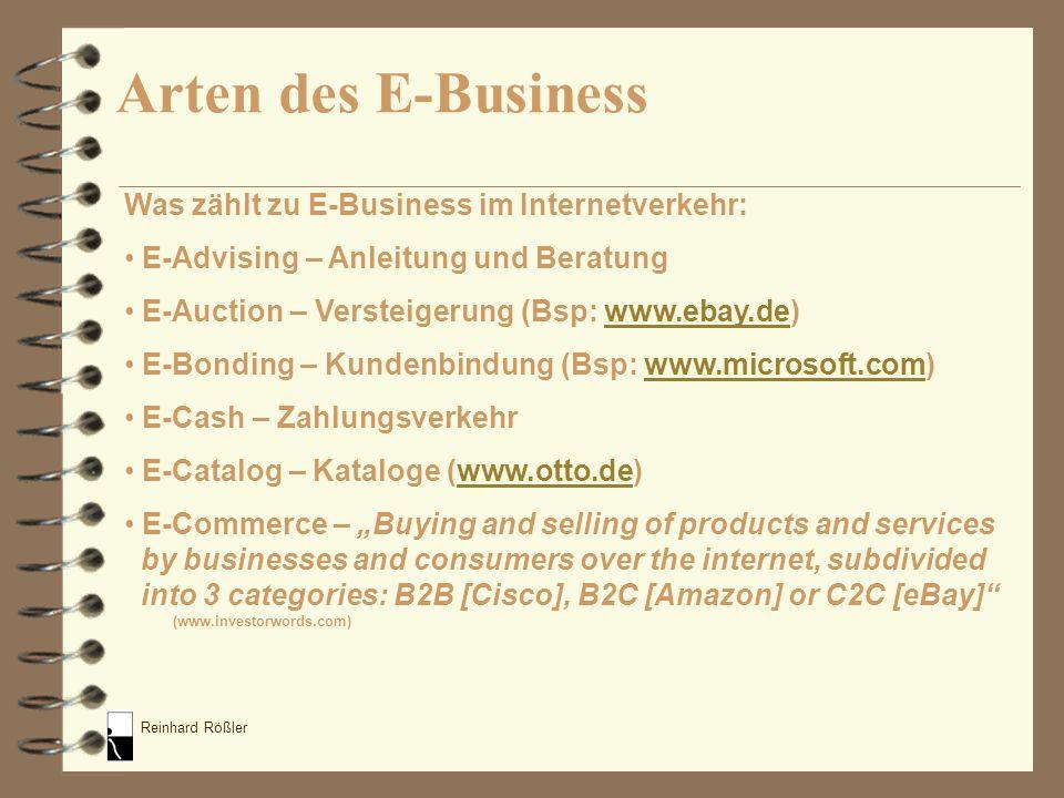 Reinhard Rößler Was zählt zu E-Business im Internetverkehr: E-Advising – Anleitung und Beratung E-Auction – Versteigerung (Bsp: www.ebay.de)www.ebay.d