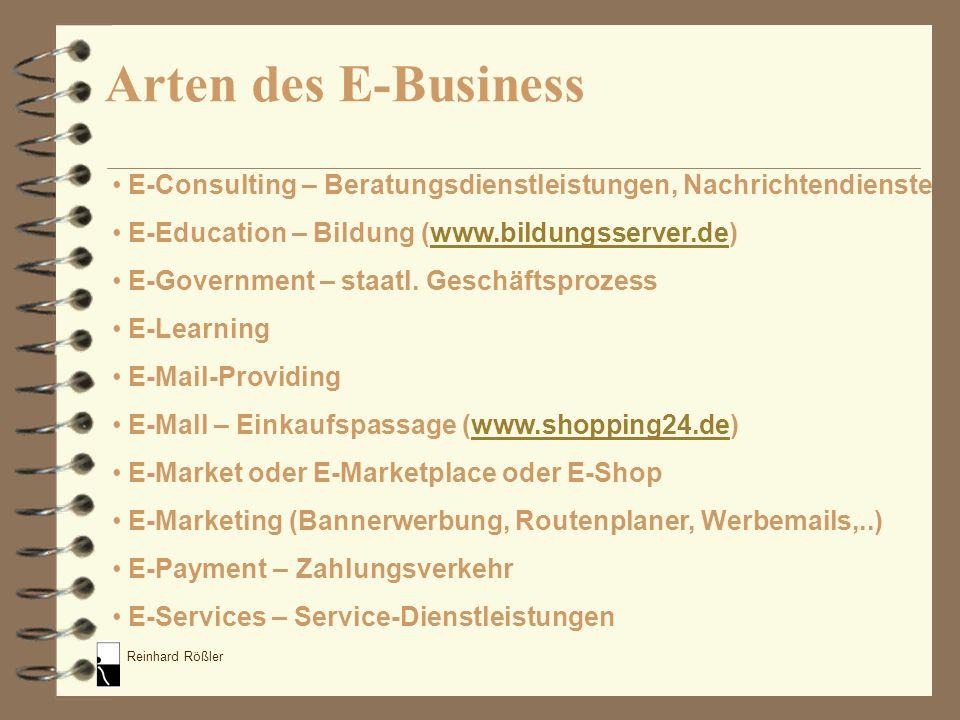 Reinhard Rößler E-Consulting – Beratungsdienstleistungen, Nachrichtendienste E-Education – Bildung (www.bildungsserver.de)www.bildungsserver.de E-Gove