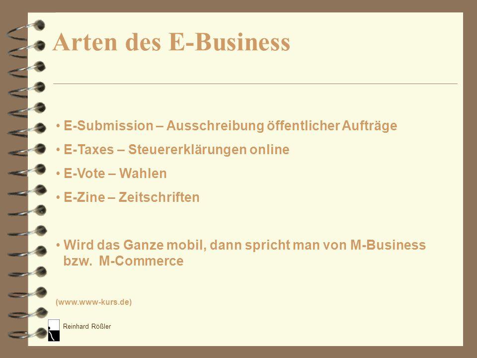 Reinhard Rößler E-Business-Modelle Diktion: x2y mit x und y gleich B (Business) C (Consumer / Customer) E (Employee) A (Administration) G (Government)