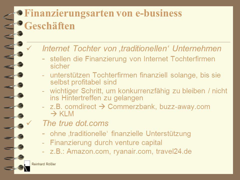 Reinhard Rößler Finanzierungsarten von e-business Geschäften Internet Tochter von traditionellen Unternehmen - stellen die Finanzierung von Internet T