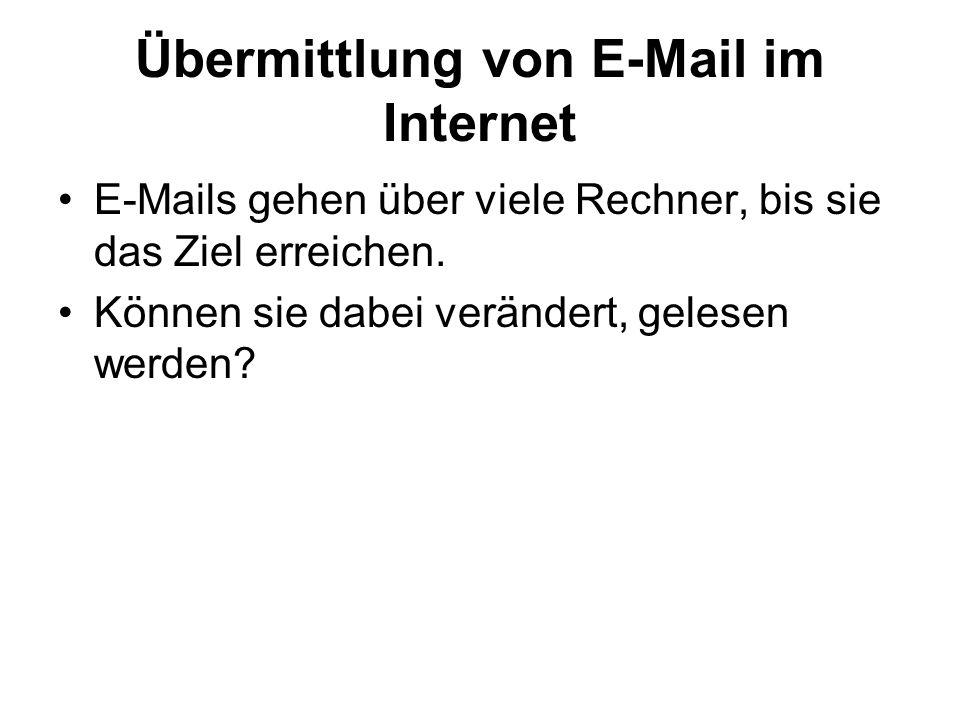 Übermittlung von E-Mail im Internet E-Mails gehen über viele Rechner, bis sie das Ziel erreichen. Können sie dabei verändert, gelesen werden?