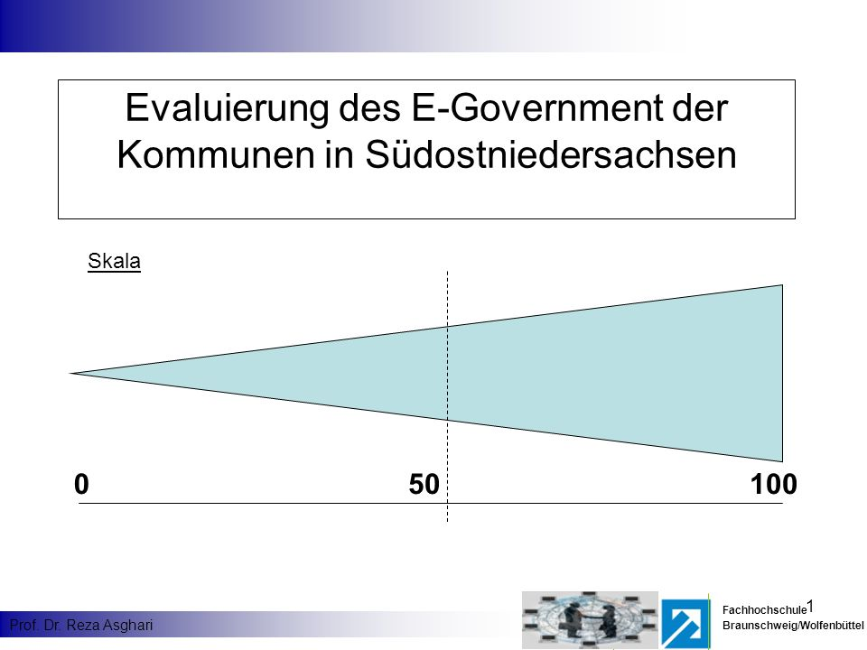 1 Fachhochschule Braunschweig/Wolfenbüttel Prof. Dr. Reza Asghari Evaluierung des E-Government der Kommunen in Südostniedersachsen Skala 010050