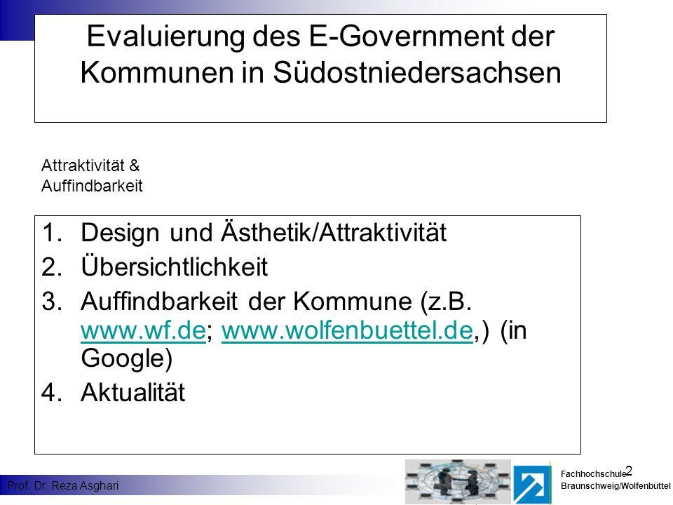 2 Fachhochschule Braunschweig/Wolfenbüttel Prof. Dr. Reza Asghari Evaluierung des E-Government der Kommunen in Südostniedersachsen 1.Design und Ästhet