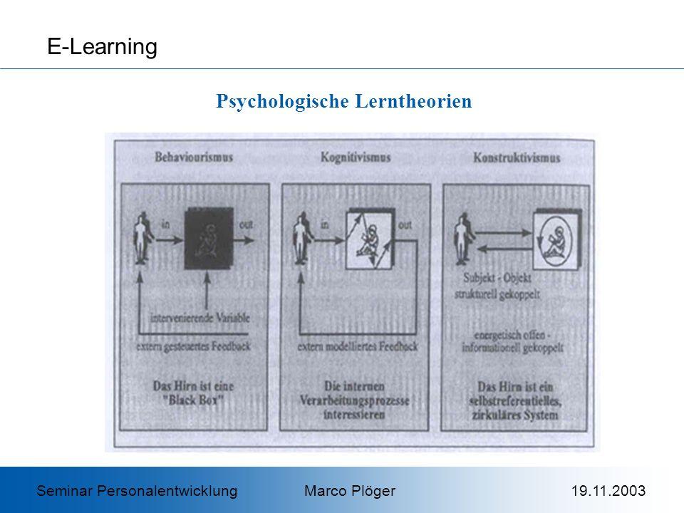 E-Learning Psychologische Lerntheorien Seminar Personalentwicklung Marco Plöger 19.11.2003