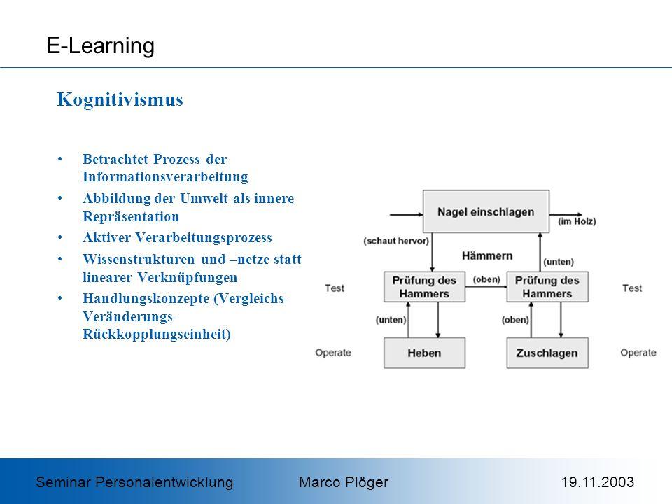 Betrachtet Prozess der Informationsverarbeitung Abbildung der Umwelt als innere Repräsentation Aktiver Verarbeitungsprozess Wissenstrukturen und –netze statt linearer Verknüpfungen Handlungskonzepte (Vergleichs- Veränderungs- Rückkopplungseinheit) E-Learning Kognitivismus Seminar Personalentwicklung Marco Plöger 19.11.2003