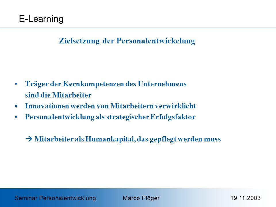 Es kommt zur Bildung von Kategorien: Assimilation Akkomodation Wahrnehmung: Das Ganze ist mehr, als die Summe seiner Teile E-Learning Kognitivismus Seminar Personalentwicklung Marco Plöger 19.11.2003