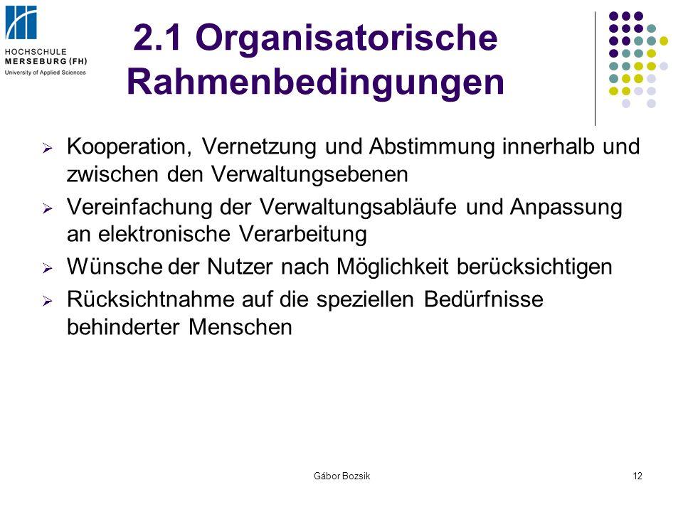 Gábor Bozsik12 2.1 Organisatorische Rahmenbedingungen Kooperation, Vernetzung und Abstimmung innerhalb und zwischen den Verwaltungsebenen Vereinfachun
