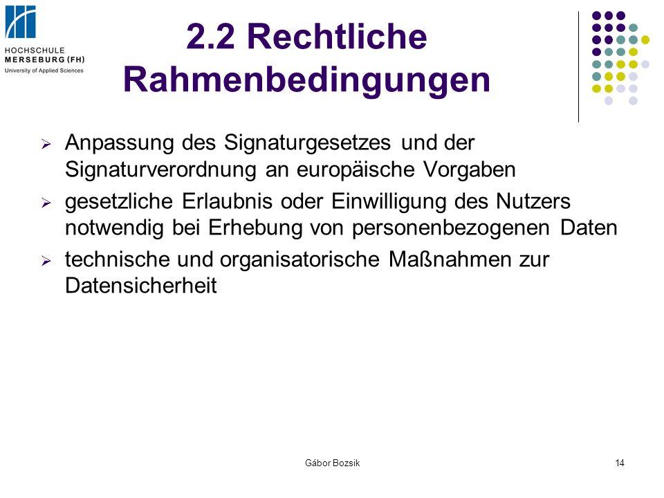 Gábor Bozsik14 2.2 Rechtliche Rahmenbedingungen Anpassung des Signaturgesetzes und der Signaturverordnung an europäische Vorgaben gesetzliche Erlaubni