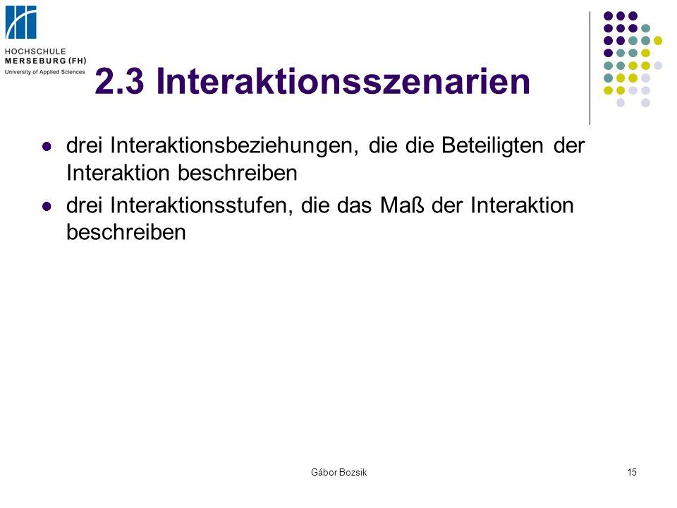 Gábor Bozsik15 2.3 Interaktionsszenarien drei Interaktionsbeziehungen, die die Beteiligten der Interaktion beschreiben drei Interaktionsstufen, die da