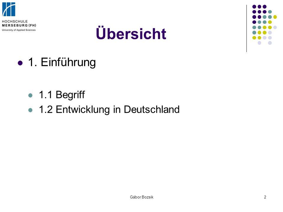 Gábor Bozsik2 Übersicht 1. Einführung 1.1 Begriff 1.2 Entwicklung in Deutschland