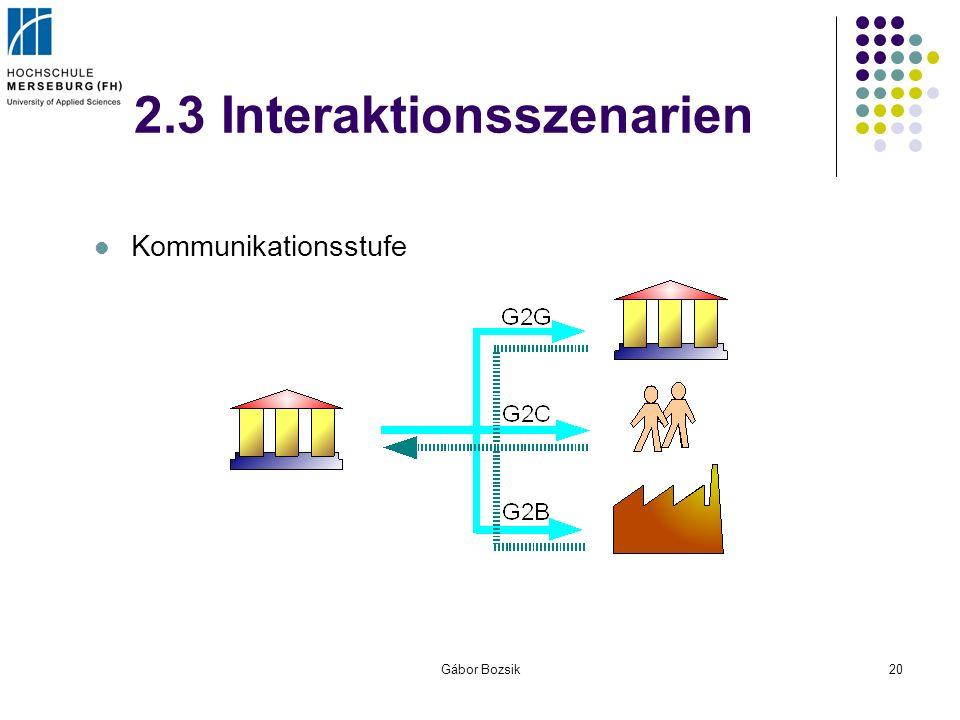Gábor Bozsik20 2.3 Interaktionsszenarien Kommunikationsstufe