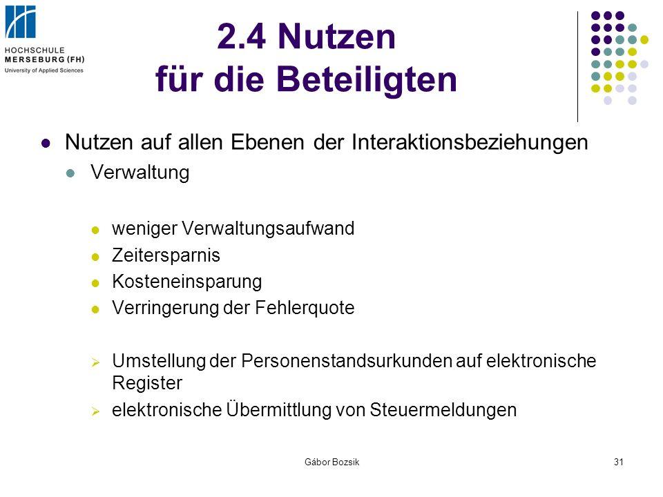 Gábor Bozsik31 2.4 Nutzen für die Beteiligten Nutzen auf allen Ebenen der Interaktionsbeziehungen Verwaltung weniger Verwaltungsaufwand Zeitersparnis