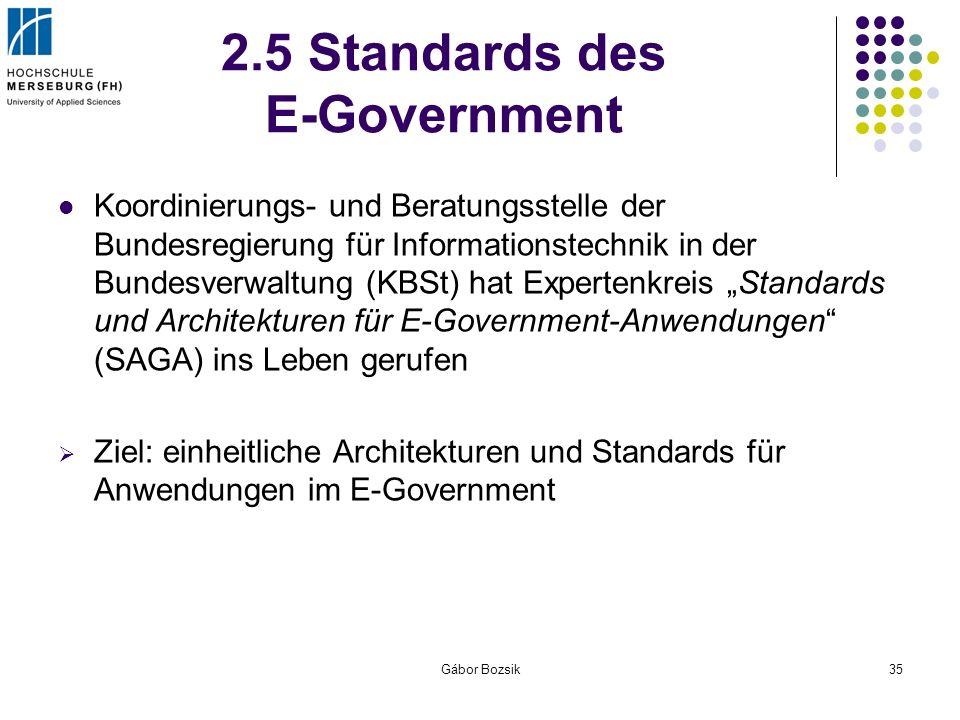 Gábor Bozsik35 2.5 Standards des E-Government Koordinierungs- und Beratungsstelle der Bundesregierungfür Informationstechnik in der Bundesverwaltung (