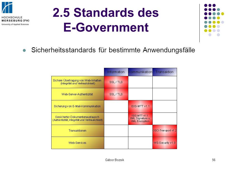 Gábor Bozsik56 2.5 Standards des E-Government Sicherheitsstandards für bestimmte Anwendungsfälle