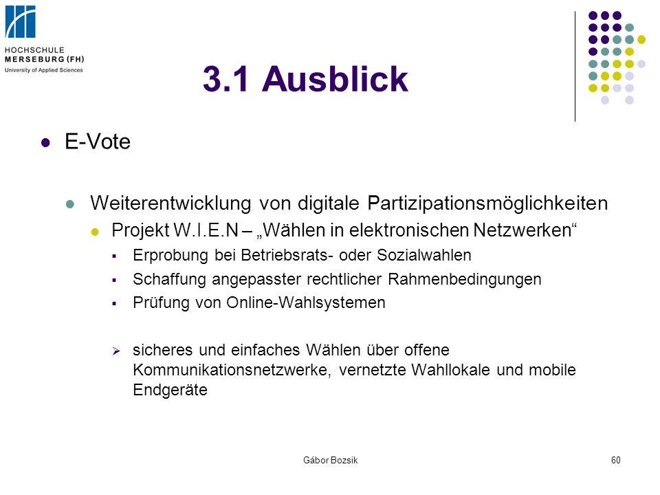 Gábor Bozsik60 3.1 Ausblick E-Vote Weiterentwicklung von digitale Partizipationsmöglichkeiten Projekt W.I.E.N – Wählen in elektronischen Netzwerken Er