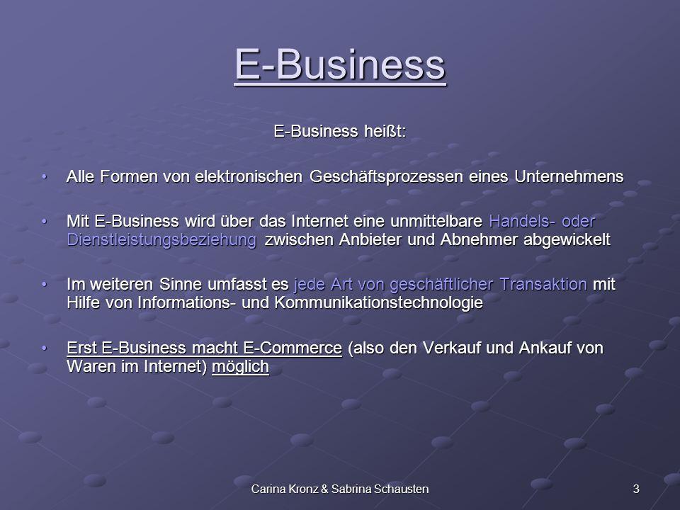 3Carina Kronz & Sabrina Schausten E-Business E-Business heißt: Alle Formen von elektronischen Geschäftsprozessen eines UnternehmensAlle Formen von ele