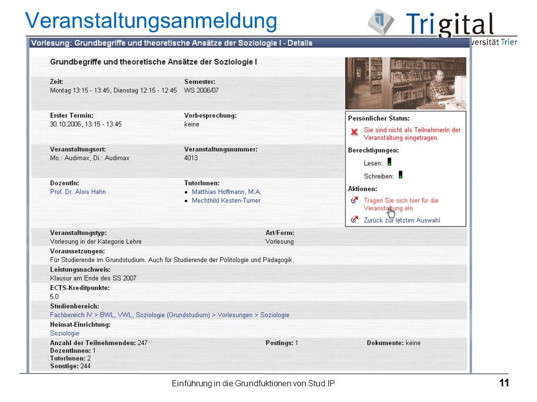 Einführung in die Grundfuktionen von Stud.IP 11 Veranstaltungsanmeldung