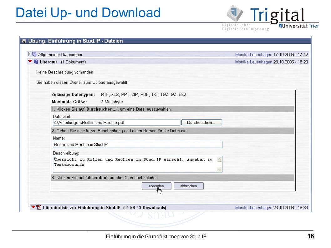 Einführung in die Grundfuktionen von Stud.IP 16 Datei Up- und Download